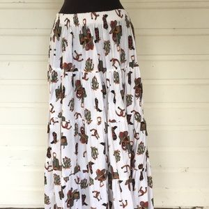 5dae1e190 Vintage Skirts | Western Motif Tiered Maxi Skirt Boots | Poshmark